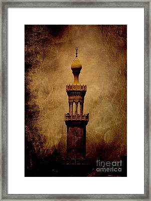 Framed Print featuring the photograph Historical Minaret In Cairo by Mohamed Elkhamisy