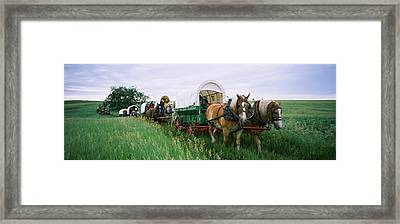 Historical Reenactment, Covered Wagons Framed Print