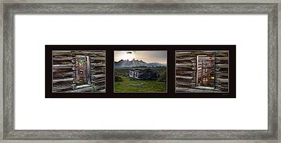 Historical Taylor Cabin Triptych Framed Print by Leland D Howard