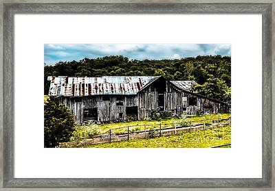 History Left Behind  Old Barn Framed Print by Peggy Franz