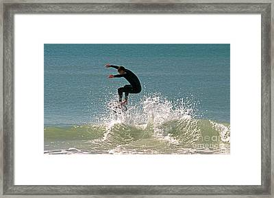 Hit The Wave Framed Print