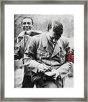 Hitler And Goebbels  As The German Chancellor Signs An Autograph  Framed Print