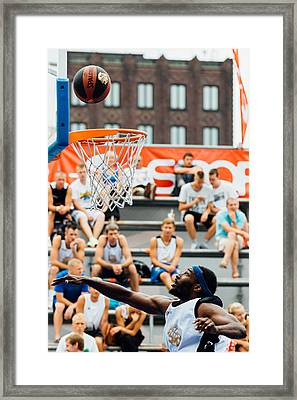 Hitting The Goal Framed Print