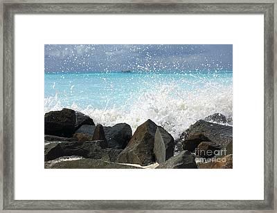 Hitting The Rocks Framed Print by Sophie Vigneault