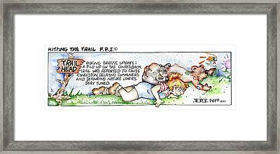 Framed Print featuring the painting Hitting The Trail Fpi Cartoon by Dawn Sperry