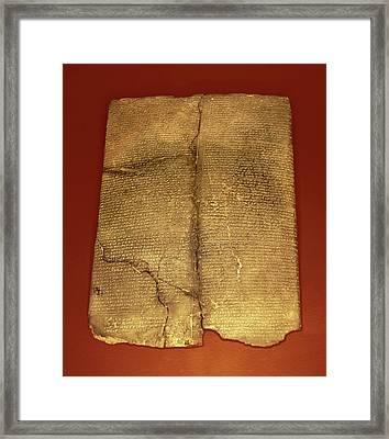 Hittite Cuneiform Tablet Framed Print by David Parker