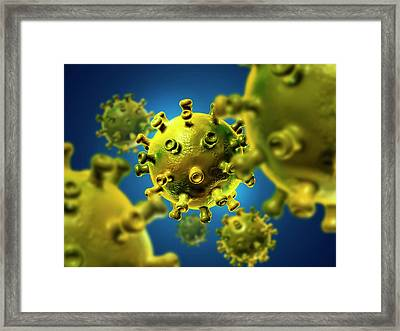 Hiv Particles Framed Print by Harvinder Singh