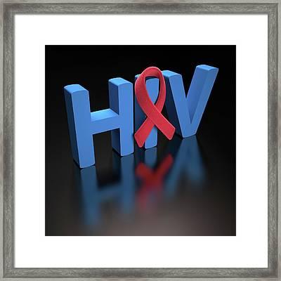 Hiv Red Ribbon Framed Print by Ktsdesign