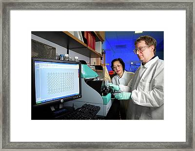Hiv Research Framed Print