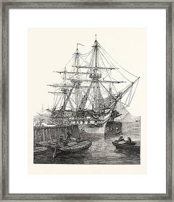 H.m. Screw Line-of-battle Ship Caesar 90 At Portsmouth Uk Framed Print by English School