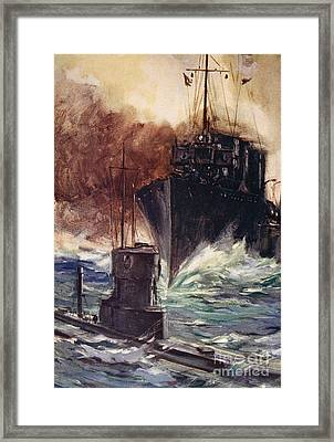 Hms Badger Ramming A German Submarine Framed Print by Cyrus Cuneo