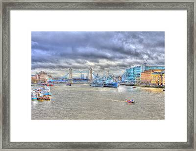Hms Belfast Hdr Framed Print by Ash Sharesomephotos