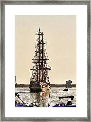 Hms Bounty In Plymouth Harbor Framed Print
