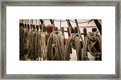 Hms Bounty Riggins And Ropes Framed Print