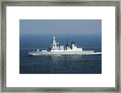 Hms Diamond At Sea Framed Print by U.s. Navy