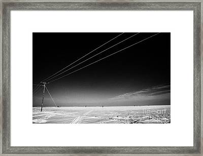 Hoar Frost Covered Electricity Transmission Lines Snow Covered Prairie Agricultural Farming Land Wit Framed Print