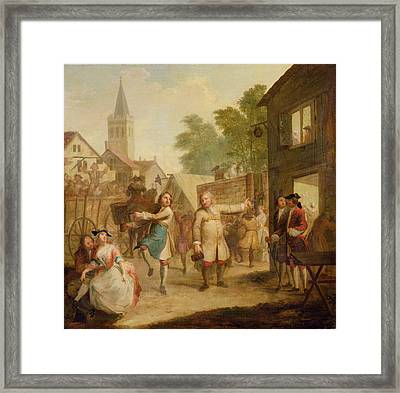 Hob Continues Dancing In Spite Of His Father, C.1726 Oil On Canvas Framed Print by John Laguerre