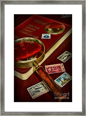 Hobby  Stamp Collecting Framed Print by Paul Ward
