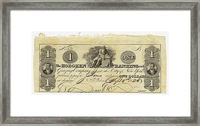 Hoboken Bank Note Framed Print by American Philosophical Society