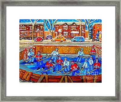 Hockey Art Collectible Cards And Prints Snowy Day  Neighborhood Rinks Verdun Montreal Art C Spandau Framed Print by Carole Spandau