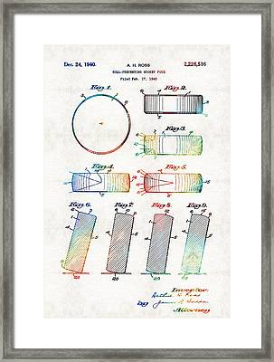 Hockey Art - Hockey Puck Patent - Sharon Cummings Framed Print
