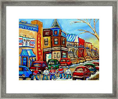 Hockey Art Montreal Winter Street Scene Painting Chez Vito Boucherie And Fairmount Bagel Framed Print by Carole Spandau