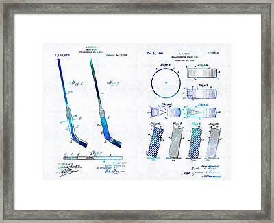 Hockey Art - Stick And Puck - Sharon Cummings Framed Print