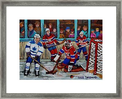 Hockey Art Vintage Game Montreal Forum Framed Print by Carole Spandau