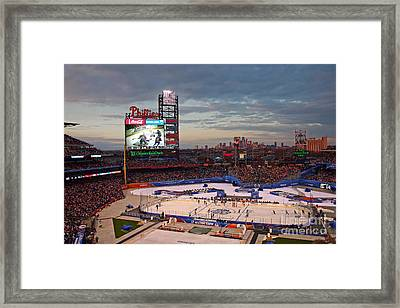 Hockey At The Ballpark Framed Print