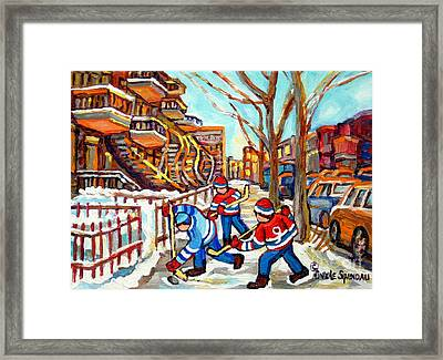 Hockey Game Near Montreal Staircases Winter Scenes Paintings Carole Spandau Framed Print by Carole Spandau