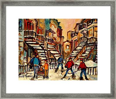 Hockey Game Near Winding Staircases Montreal Streetscene Framed Print
