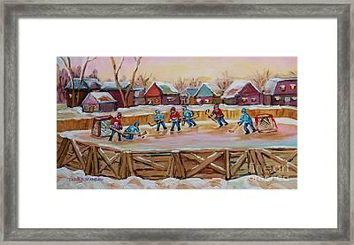 Hockey Game-outdoor Hockey -beautiful Canadian Winter Landscape-hockey Heroes-carole Spandau Framed Print by Carole Spandau