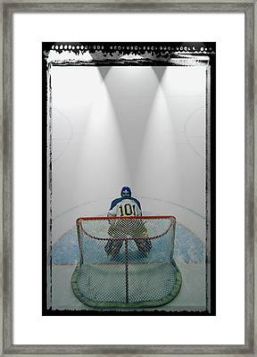 Hockey Goalie In Crease Framed Print