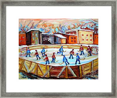 Hockey In The City Outdoor Hockey Rink Montreal Memories Winter City Scenes Painting Carole Spandau  Framed Print by Carole Spandau