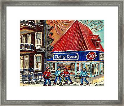Hockey Near The Ice Cream Shop In Verdun Montreal Paintings By Carole Spandau Framed Print