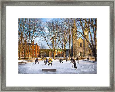 Hockey On The Quad Framed Print
