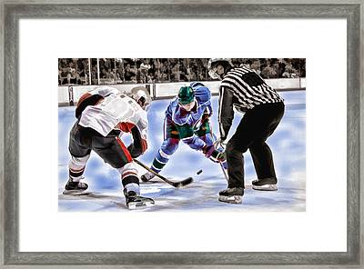 Hockey Players And Referee In Bold Watercolor Framed Print