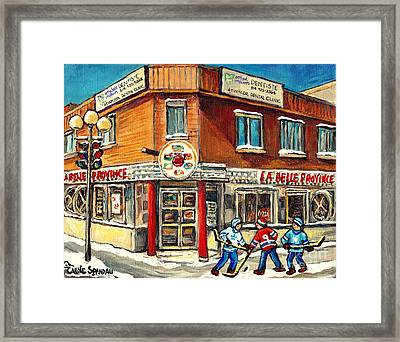 Hockey Practice Near The Hot Dog Restaurant On Notre Dame And Atwater Streets Montreal Paintings  Framed Print by Carole Spandau
