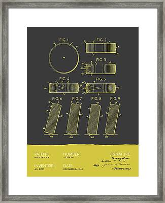 Hockey Puck Patent From 1940 - Gray Yellow Framed Print