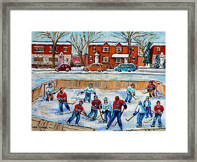Hockey Rink At Van Horne Montreal Framed Print