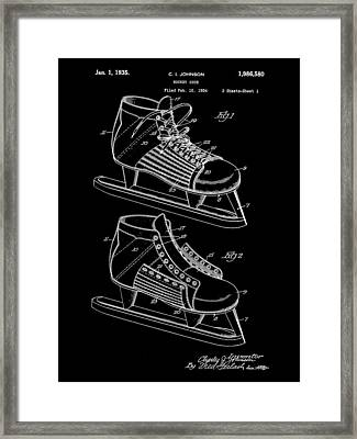 Hockey Shoe Patent 1934 - Black Framed Print by Stephen Younts