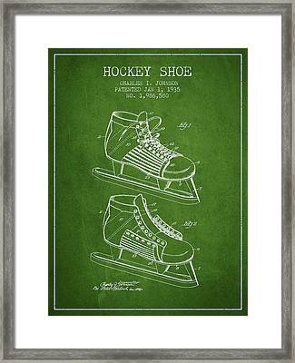 Hockey Shoe Patent Drawing From 1935 - Green Framed Print by Aged Pixel