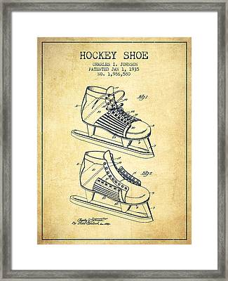 Hockey Shoe Patent Drawing From 1935 - Vintage Framed Print by Aged Pixel