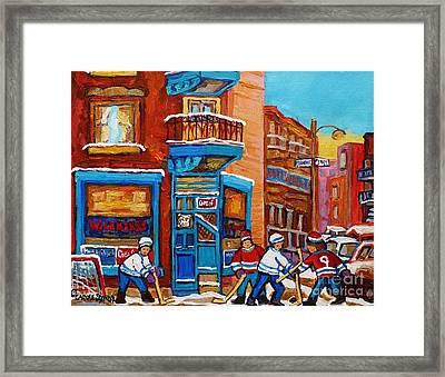 Hockey Stars At Wilensky's Diner Street Hockey Game Paintings Of Montreal Winter  Carole Spandau Framed Print