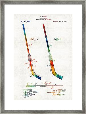 Hockey Stick Art Patent - Sharon Cummings Framed Print