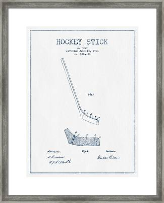 Hockey Stick Patent Drawing From 1901 - Blue Ink Framed Print by Aged Pixel