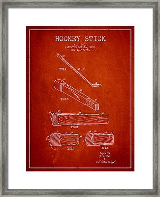 Hockey Stick Patent Drawing From 1928 Framed Print by Aged Pixel