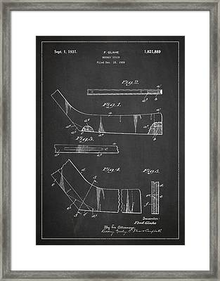 Hockey Stick Patent Drawing From 1929 Framed Print by Aged Pixel