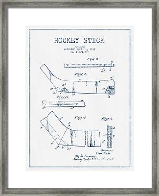 Hockey Stick Patent Drawing From 1931 - Blue Ink Framed Print by Aged Pixel