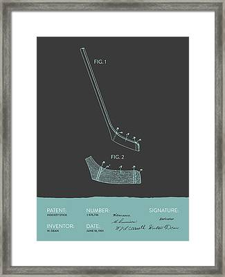 Hockey Stick Patent From 1901 - Gray Blue Framed Print by Aged Pixel